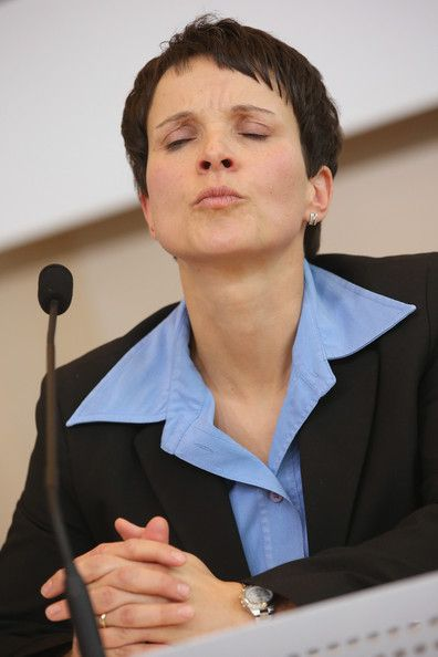 Frauke Petry Photos - Frauke Petry, Chairwoman of the Saxony branch of the AfD (Alternative fuer Deutschland, or Altrenative for Germany) political party, speaks to the media at the Saxony State Parliament on January 8, 2015 in Dresden, Germany. Petry and other Saxony AfD members met with leaders of the Pegida movement the day before. Pegida is an acronym for 'Patriotische Europaeer Gegen die Islamisierung des Abendlandes,' which translates to 'Patriotic Europeans Against the Islamification…