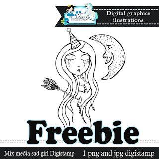 DigiScrap Latino: Mix media Girl Digistamp Freebie