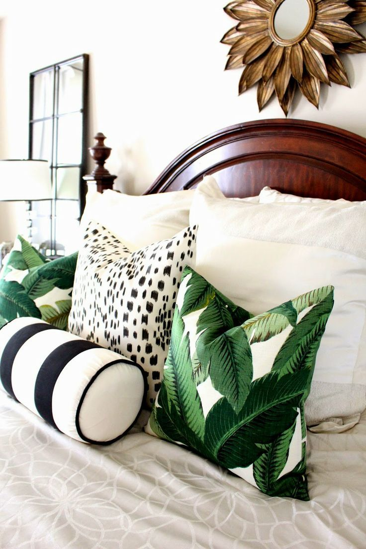 Palm details on cushions | Interiors | The Lifestyle Edit  Green, black, white, gold color combo.