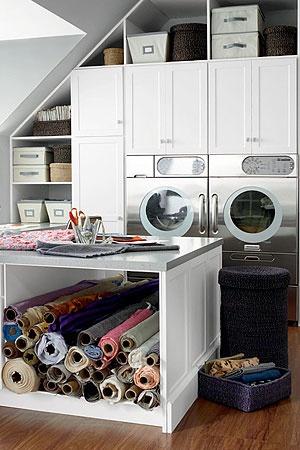 cabinets & folding tableFabrics Storage, Room Mom, Fabrics Rolls, Laundry Crafts Room, Laundry Rooms, Mom Cave, Sewing Rooms, Laundryroom, Craft Rooms