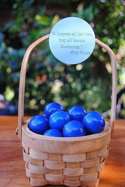 "Blue candy with sign:  ""It happens all the time.  They all become blueberries."""