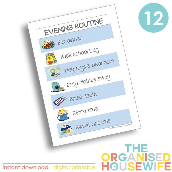 Kids Routine Charts - Evening | The Organised Housewife Shop