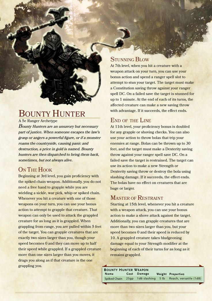 DnD 5e Homebrew — Bounty Hunter Ranger by BardBrimstone