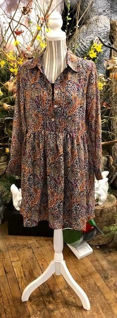 Clothing - Paisley print dress/tunic with button-down pleated neckline, gathered at waist....side pockets