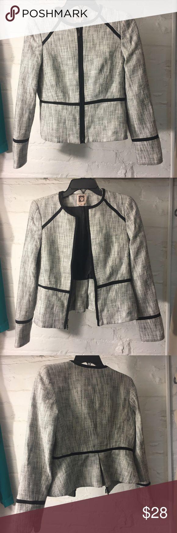 New Anne Klein Gray Tweed Blazer Black Trim 2p New Anne Klein blazer Jacket size 2p. Zippers still have protective covering. Perfect for work. Anne Klein Jackets & Coats Blazers