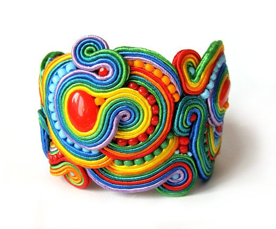 MIKAISH - Multicolor RAINBOW soutache statement bracelet colorful handmade embroidery green blue red yellow orange satin strips TOHO oaak gift for her