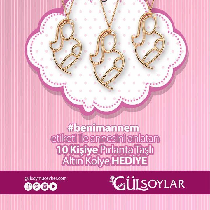 #annelergünü #2015annelergünü  #benimannem etiketi ile annesini anlatan 10 kişiye #pırlanta taşlı anneler günü kolyesi hediye!