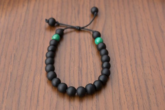 Men's Leather Matte Black Onyx Bracelet with Green by JazzyandCo