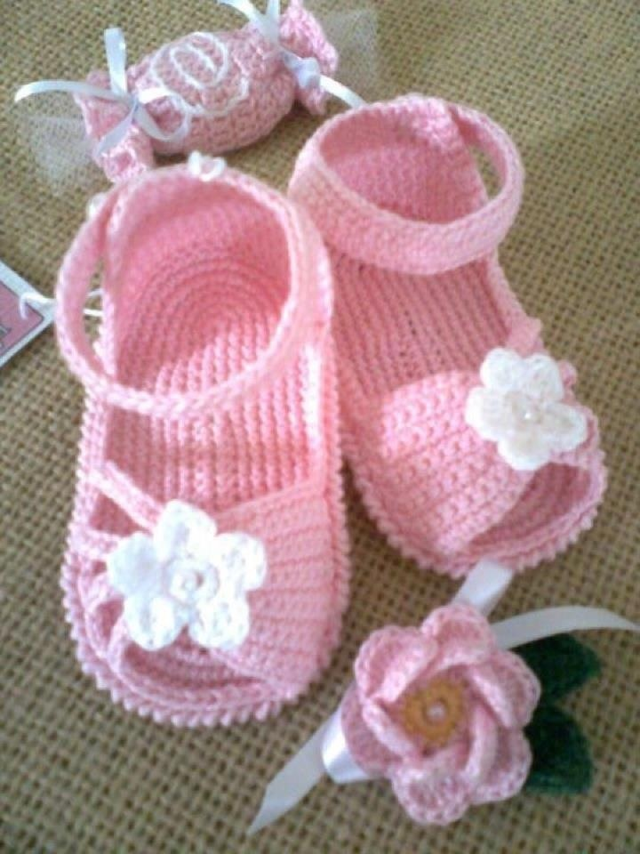 Pink and white crochet sandals