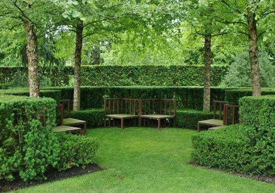 Love the layers of hedges and trees | http://gardendesigncollections.blogspot.com