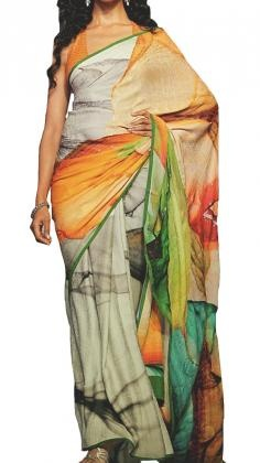 Gorgeous printed Satya Paul Saree in georgette jacquard with exquisite patterns and prints in crisp and vivid colours.    Satya Paul´s contemporary Indian styles of Sarees is unsurpassed within the Indian Fashion world. His Saree lines range from Silk Sarees to Net sarees with rich embroidery. Satya Paul as a designer is one of the most popular Indian designers in Bollywood. Strand of Silk (strandofsilk.com) offers a beautiful collection of Satya Paul Sarees with beautiful coloured prints.