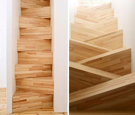 Stairs for a Super-Tight space. Left: going UP. Right: looking DOWN. Actually makes sense....