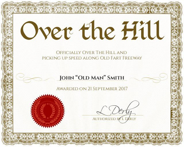 Over the Hill Award - Customizable with the free online certificate maker