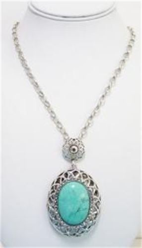 70cm Turquoise Pendant on silver chain. $16.00  www.thecrystalcave.vpweb.com.au