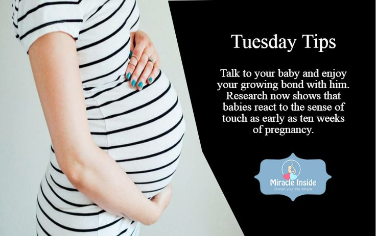 Talk to your baby and enjoy your growing bond with him. Research now shows that babies react to the sense of touch as early as ten weeks of pregnancy.. #motherquotes #pregnancy #babies #tuesdaytip #tipoftheday