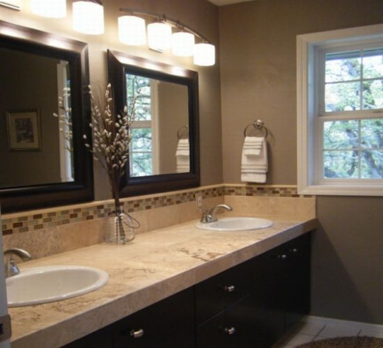 Master Bath Neutral Color Brown And Beige Bathroom Rustic Modern
