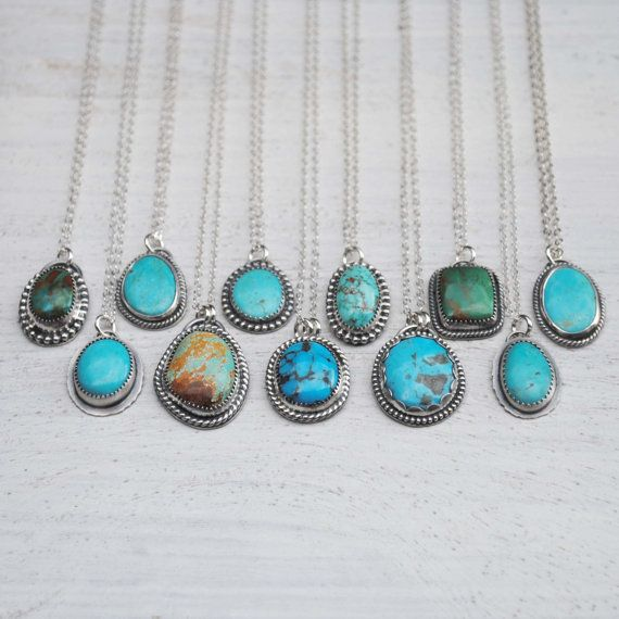These one of a kind necklaces are made with solid sterling silver (.925) and feature one of a kind turquoise stones (see list below for the turquoise types). Pendant & Turquoise Type: A - Kingman B - Fox C - Blue Gem D - Hubei E - mine unknown F - Fox G - Kingman H - Morenci  I - Kingman J - Number 8 K, L - Royston Boulder M - Compass N, O - Kingman  P - Hubei Q, R - Number 8 S - Hubei T - Number 8 U - Kingman  Choose your length and pendant from the drop down menus. The lengths on the ma...