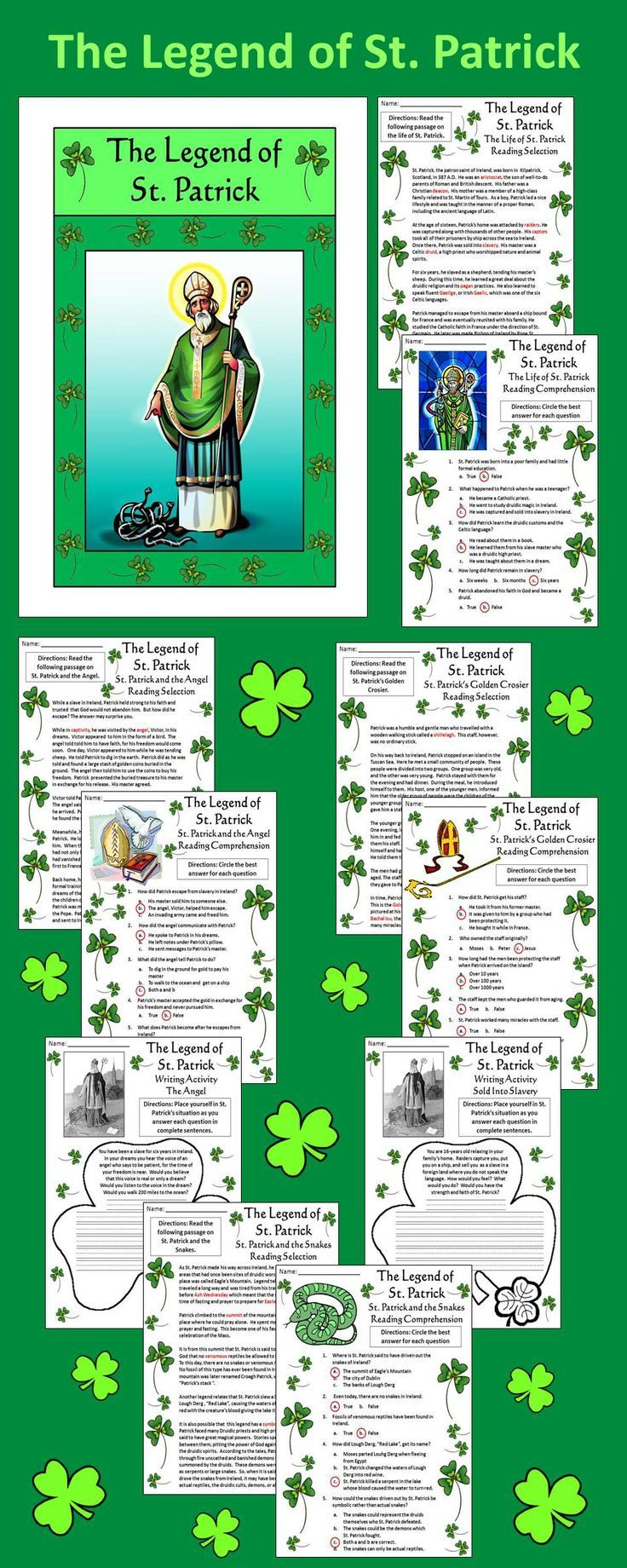 The Legend of St. Patrick: Colorful St. Patrick's Day activity packet detailing the extraordinary events and works of St. Patrick, Bishop of Ireland.  Contents include: * Reading Selections & Quizzes -Life of St. Patrick, St. Patrick and the Angel, The Golden Crosier of St. Patrick,  St. Patrick and the Snakes * Writing Activities * Coloring sheets * Answer keys  #St #Patrick's #Day #Reading #History #Social #Studies #Activities #Worksheets #AnnDickerson #Religion