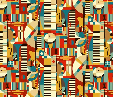 Jazz Fusion fabrics from @Spoonflower