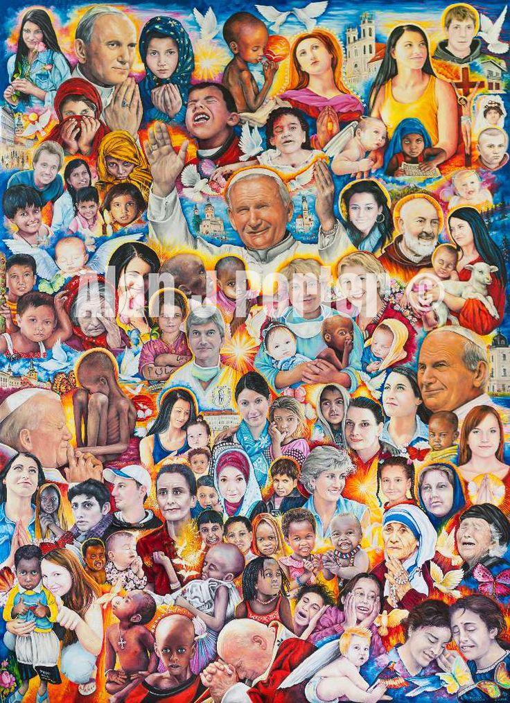 "#alanjporterart #kompas #art #Saint #women #paintings #motherteresa #johnpaul #pope #padrepio #princess #men #ladydiana #aundreyhepburn Oil painting named - ""HEALING,HOPE & HELP FOR EVERYONE"