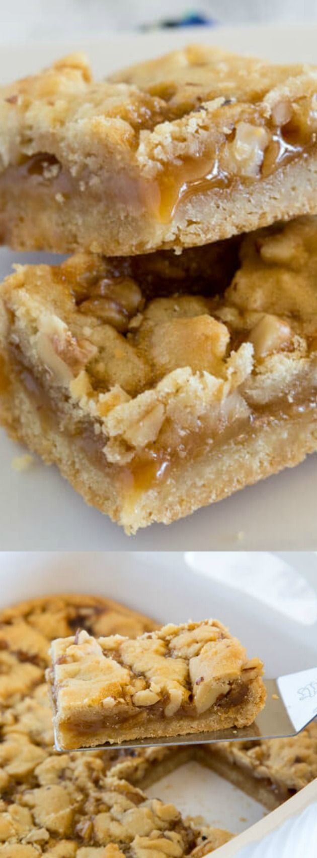 These Salted Caramel Crumble Bars from Erin at Dinners, Dishes, and Desserts use only 5 simple ingredients in the recipe! They come out of the oven buttery, delicious, and are so easy to make!