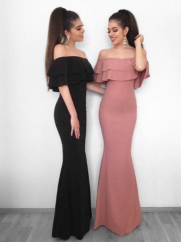 be2144604e91 Sheath/Column Off-the-Shoulder Sleeveless Floor-Length Ruffles Chiffon  Dresses
