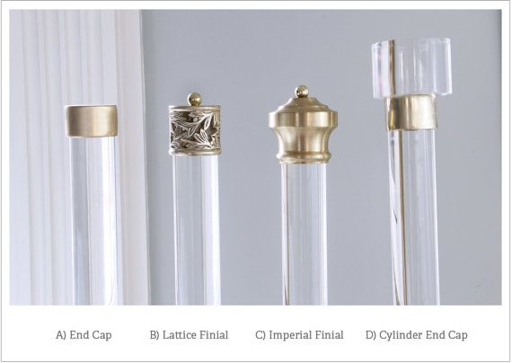 "Finial For Lucite Drapery Rod (Polished or Brushed Brass) for 1.37"", 1.5"" or 2"" DIA (Priced Individually)"
