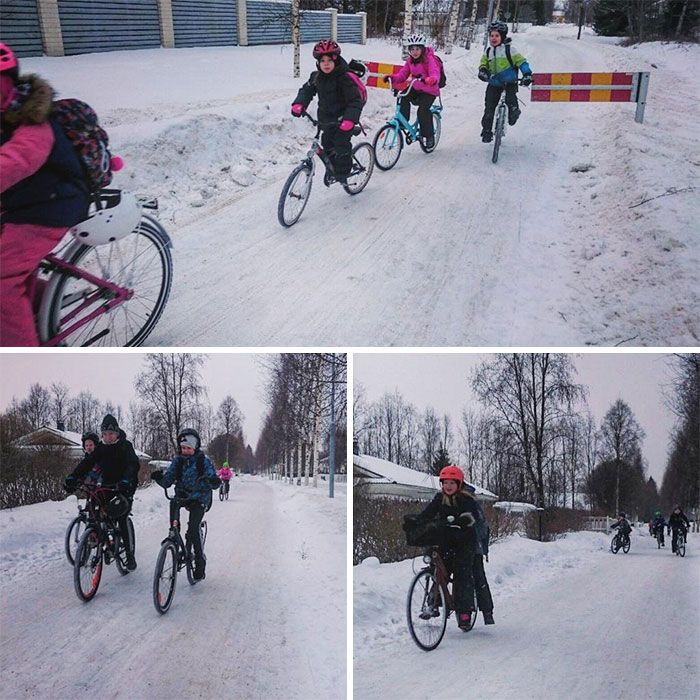 Kids In Finland Continue To Ride Bicycles To School In -17°C (1.4°F) Weather And It's A Lesson In Commuting | Kids ride on, Bicycle, Finland