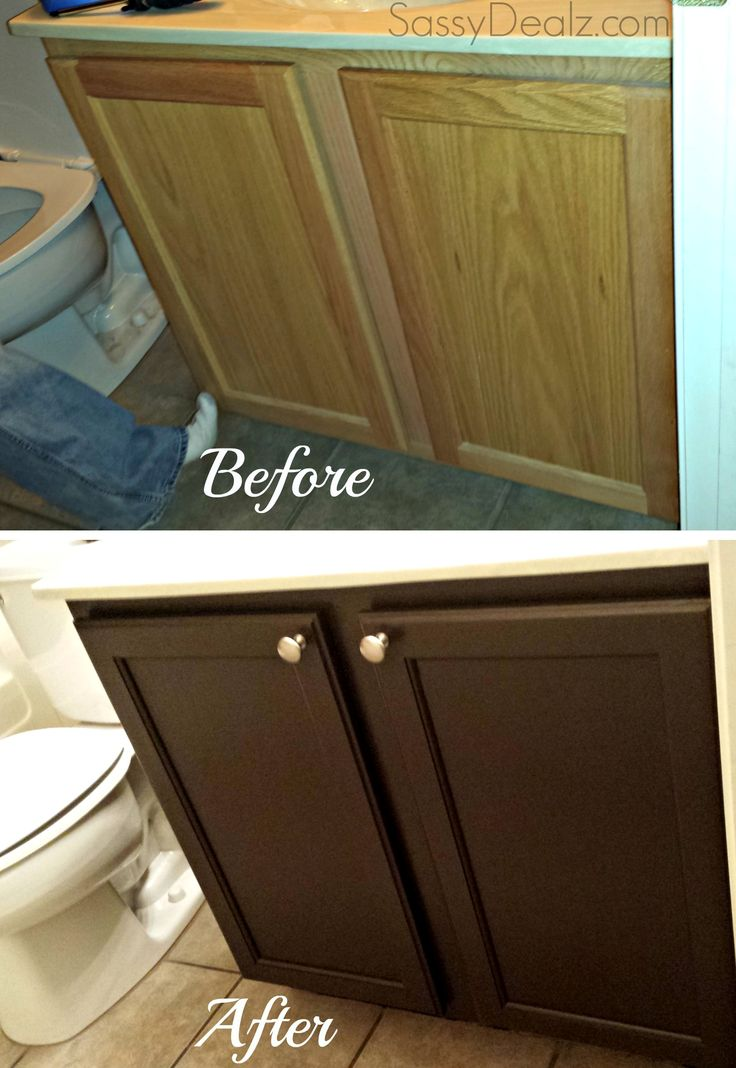 Rustoleum Cabinet Transformation Review (Before and after pictures) #Refinishing bathroom cabinets #Upgrade on a budget