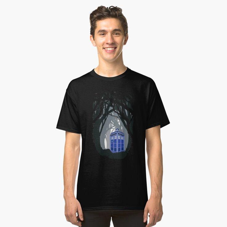 public phone at haunted woods Classic T-Shirts #classictshirt #classic #tshirt #tee #clothing #DoctorWho #tardis #britishphonebox #theDoctorWho #whovian #badwolf #werewolf #parody #TVseries #abstract #VanGogh