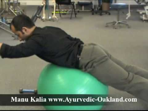 Lower back pain exercises for core stabilization. These are physical therapy rehab exercises for your lower back. Weak low back and stomach muscles after injury or due to pain can increase the pressure on your spine causing low back pain or sciatica. Low back pain is one of the most common problems and it affects 80% of people at some point in their life.  http://www.tridoshawellness.com/  http://www.facebook.com/TridoshaWellness
