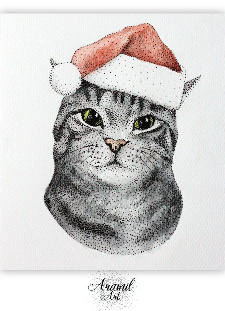 Cat with santa hat drawing, created by using about a thousand dots and colored with watercolour pencil. Art by Petra Jánosi. Come and check on FB. :) www.facebook.com/aramilart