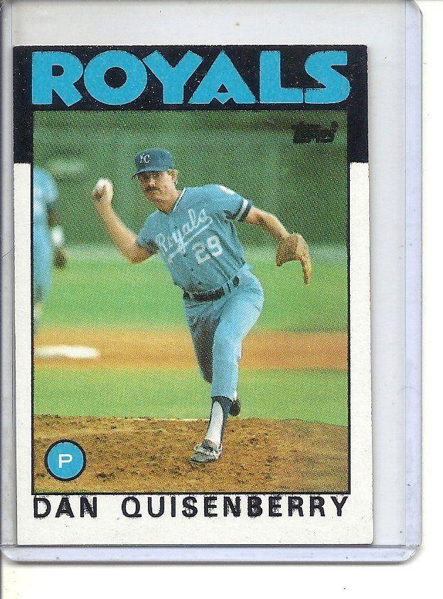 B 1 1986 Topps 50 Dan Quisenberry Factory Error Splotchy Black Ink Sports Cards Baseball Cards Sports Memorabilia