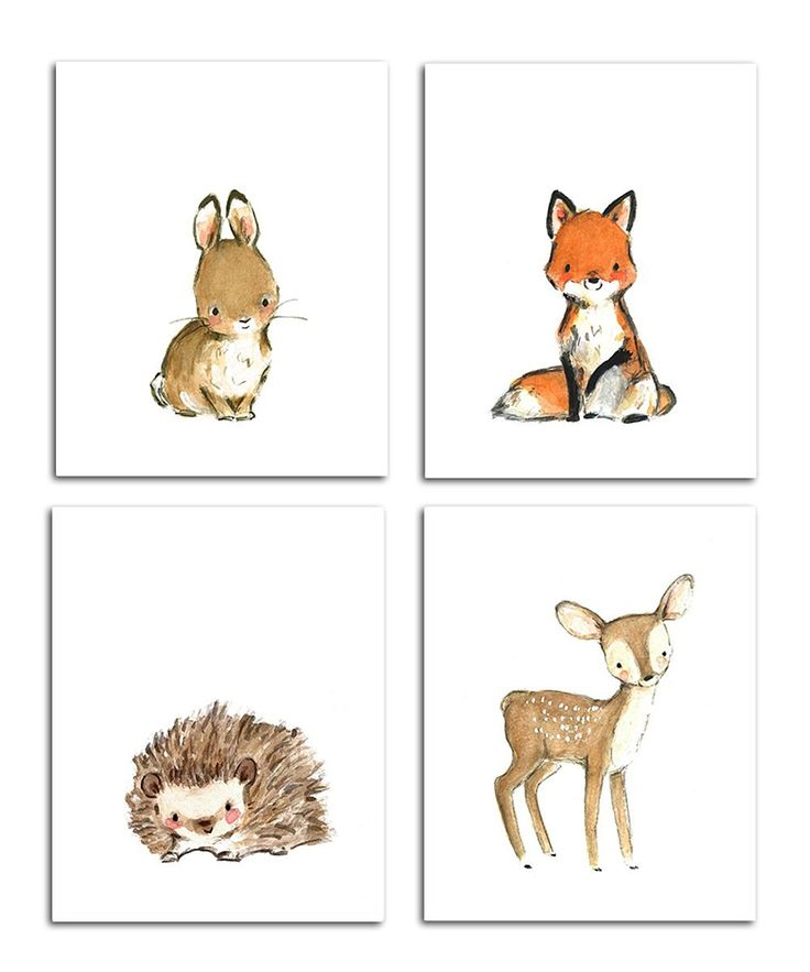 trafalgars square Bunny & More Woodsie Four-Piece Print Set