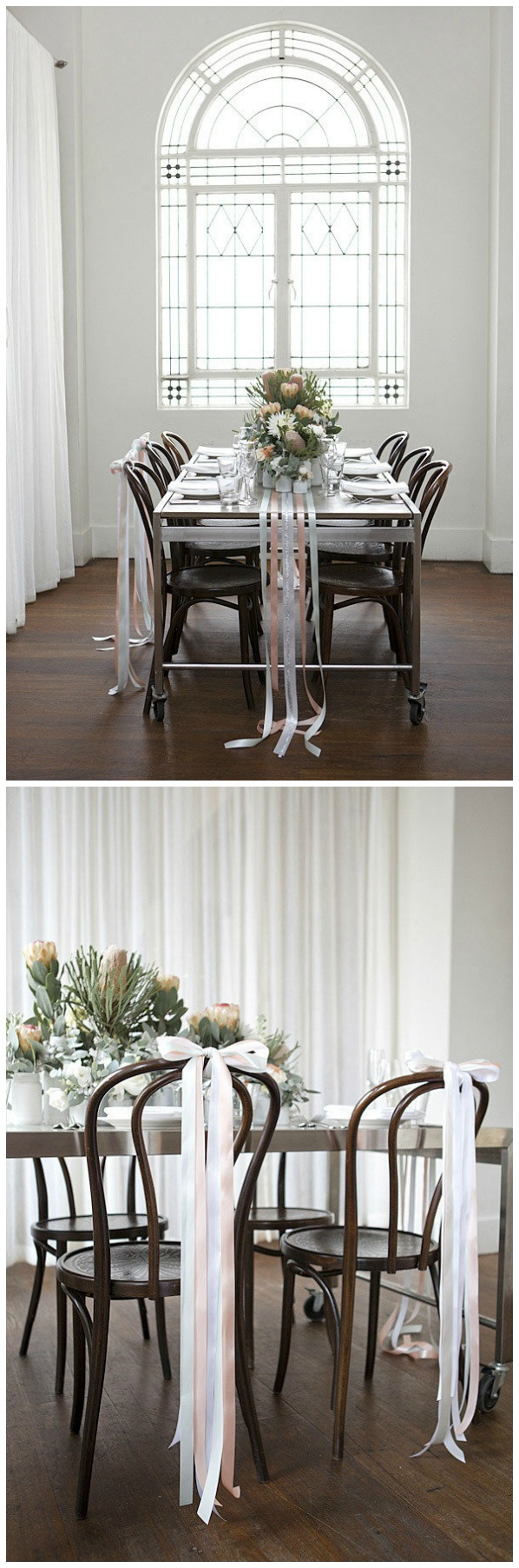 Tablescape Chair Decor Do It With White And Glittery Silver Ribbons