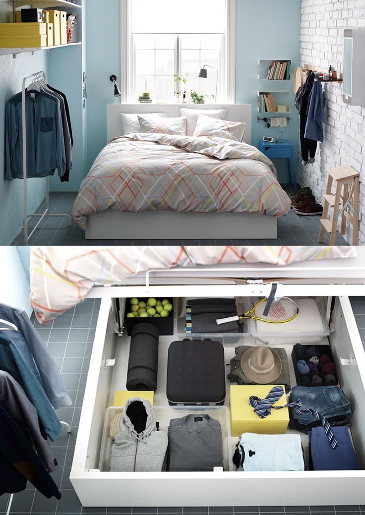 MALM storage bed - In a small bedroom, sometimes you have to think outside of the closet. If a wardrobe simply won't fit, you can get around the problem with a bed that can store a wardrobe's worth of clothes.