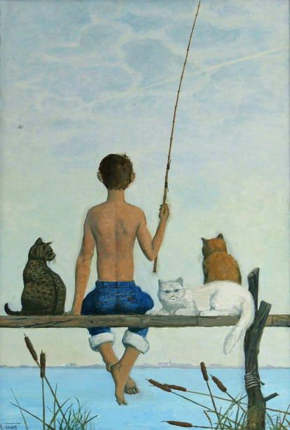 Cats fishing paintigs. I. Panov - Fish Day