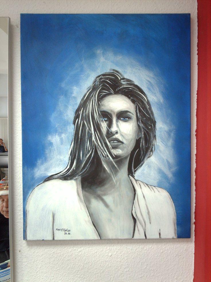 """Das Gemälde stellt das berühmte Top- Modell """" Bar Raffaeli """" dar. Auch dieses Gemälde habe ich in Acryl auf Leinwand gemalt. Es ist auch 60x80x2cm groß. kg"""