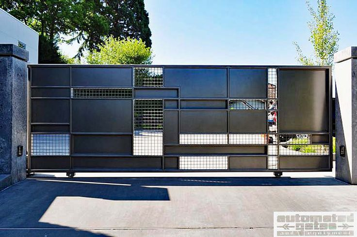 Custom slide gate with metal mesh infill.  #custom #gate #security #vehicle #driveway #automatic #electric