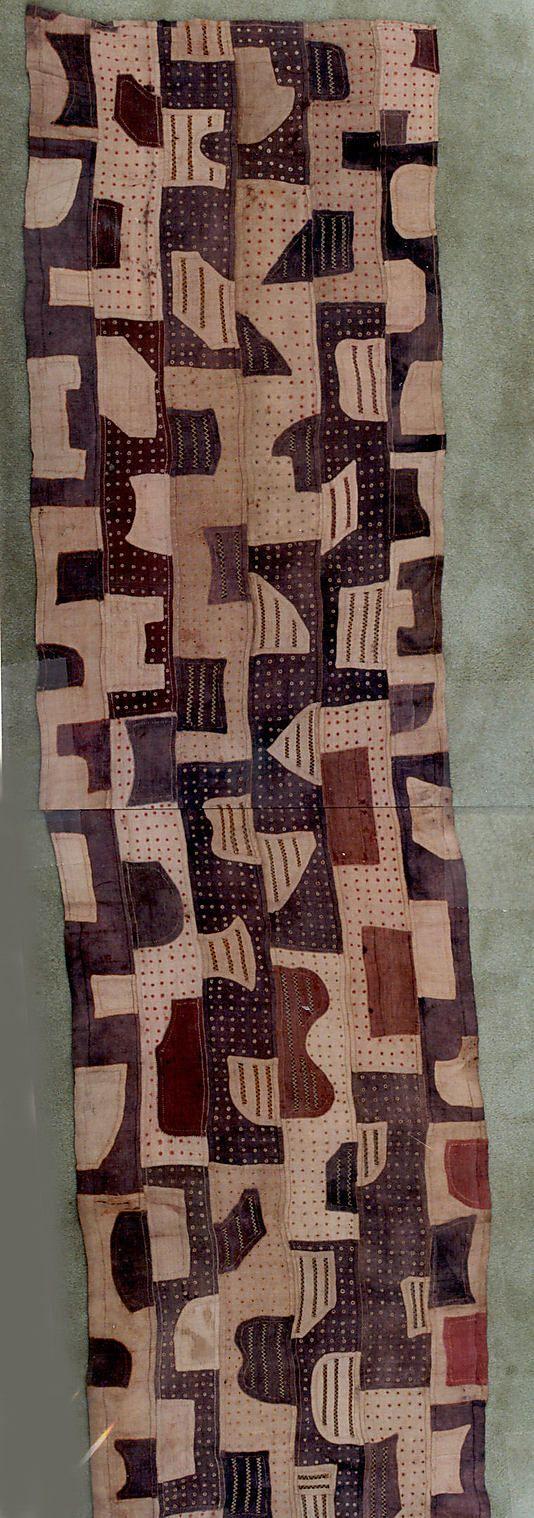 Africa | Ceremonial wrapper Kuba people, DR of Congo | Ceremonial wrapper |  Raffia palm fiber, pigment,  W. 28 3/4 x L. 238 in ( new textile appliqué)