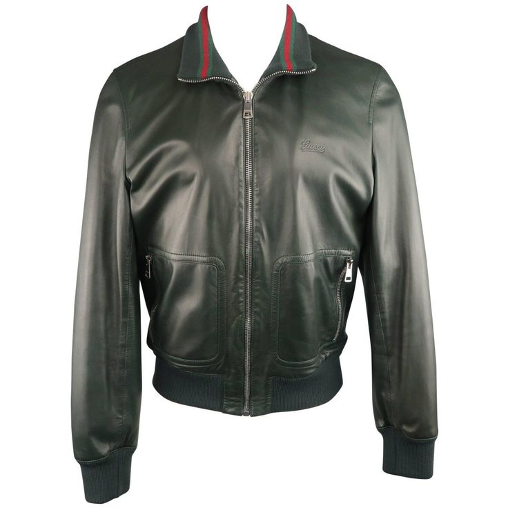 Men's GUCCI Bomber Jacket Size 42 Forest Green Leather Striped Collar  | From a collection of rare vintage coats and outerwear at https://www.1stdibs.com/fashion/clothing/coats-outerwear/
