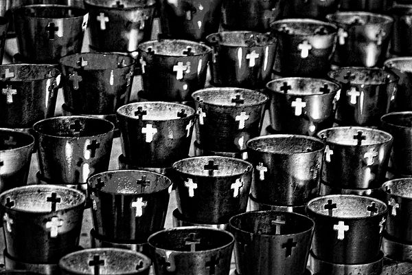 Photograph by Stuart Litoff.  #Votive #candles at The #Cathedral #Basilica of #St. #Francis of #Assisi, in #SantaFe, #NewMexico