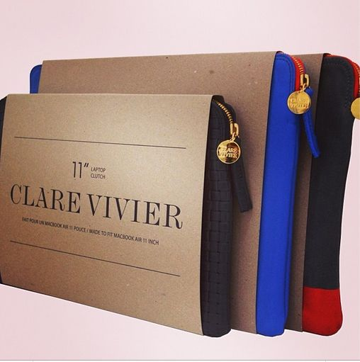 "Clare Vivier + Apple have collaborated on laptop cases! Available in 11"", 13"", and 15""! At select stores starting TODAY!"