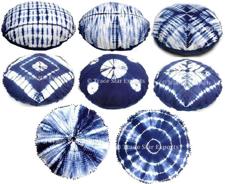 "Indian Tie Dye Floor Cushion Cover 32"" Shibori Mandala Round Throw Pillow Case #Handmade #ArtDecoStyle"