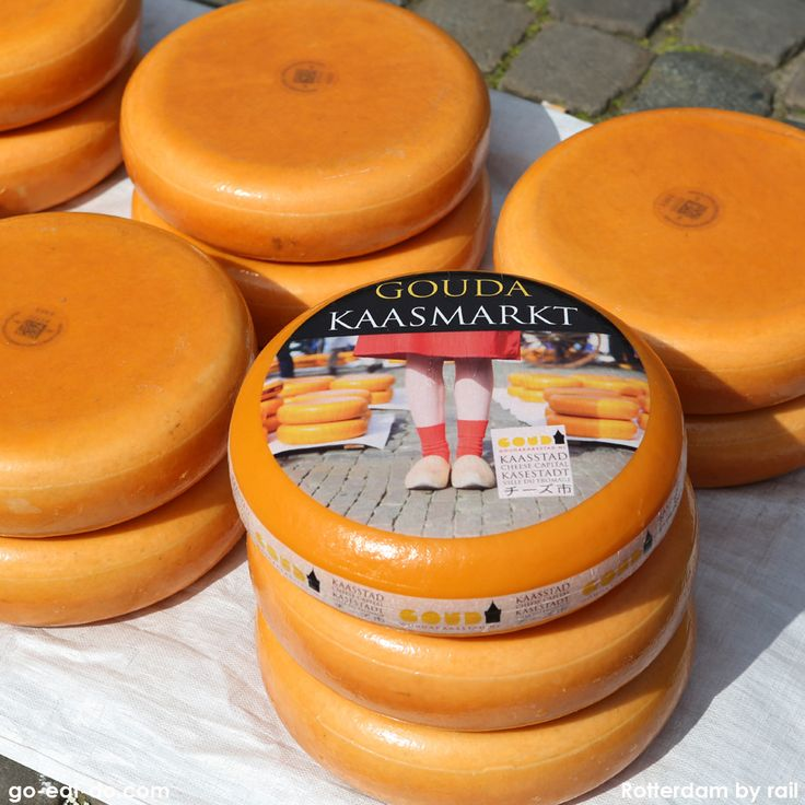 Wheels of Gouda cheese at the weekly cheese market at Gouda in the Netherlands.
