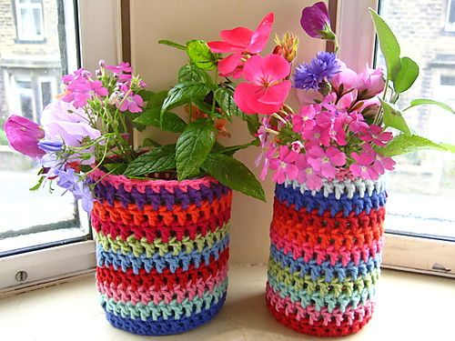 Jar cozies.  Planters, pencil holders, make up holders, oh the posibilities are endless!