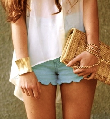 : Baby Blue, Blue Shorts, Fashion, Scallops Shorts, Summer Outfit, Style, Clothing, Colors, Jeans Shorts