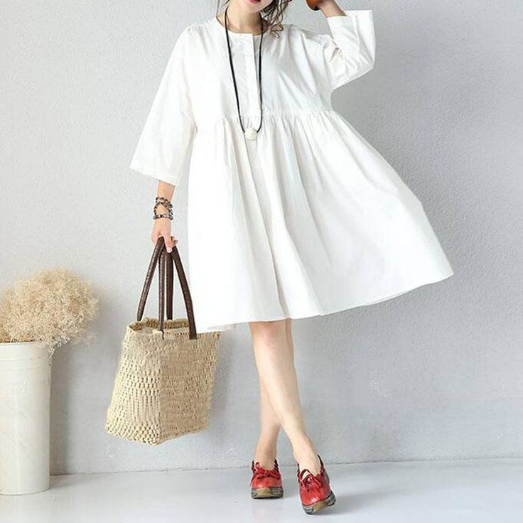 Women cotton long sleeve black and white loose dress