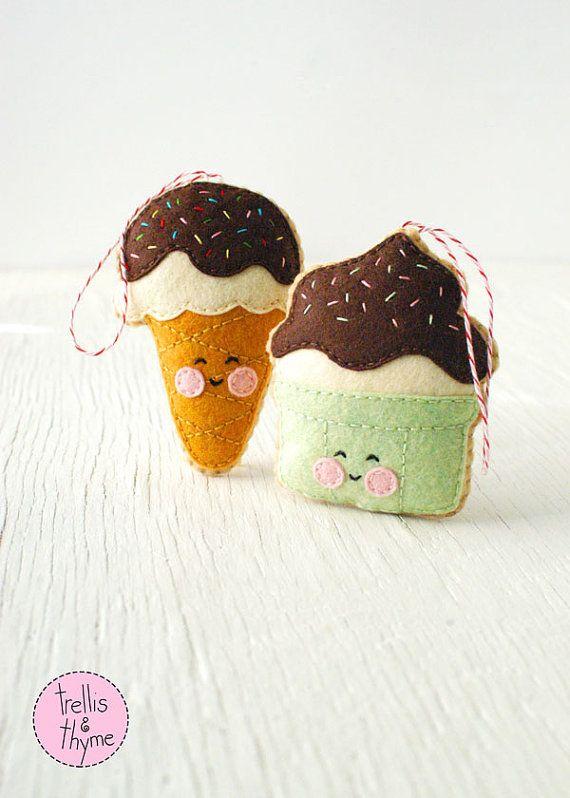 PDF Pattern Ice Cream Cone Kawaii Felt Ornament от sosaecaetano
