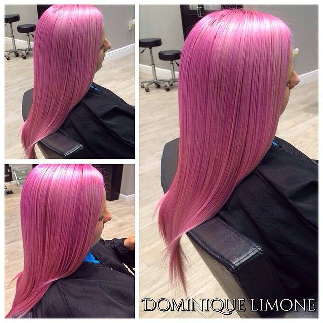 Love this bubblegum pink hair color that still has an air of sophistication by Dominique Limone! #hotonbeauty fb.com/hotbeautymagazine